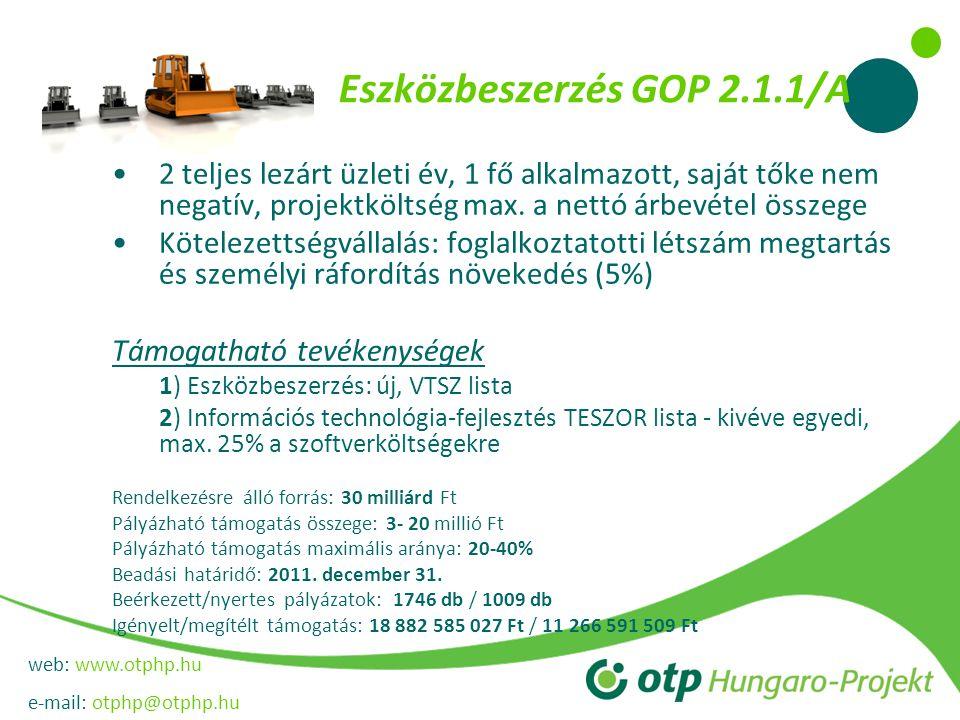 web: www.otphp.hu e-mail: otphp@otphp.hu Eszközbeszerzés GOP 2.1.1/A •2 teljes lezárt üzleti év, 1 fő alkalmazott, saját tőke nem negatív, projektköltség max.