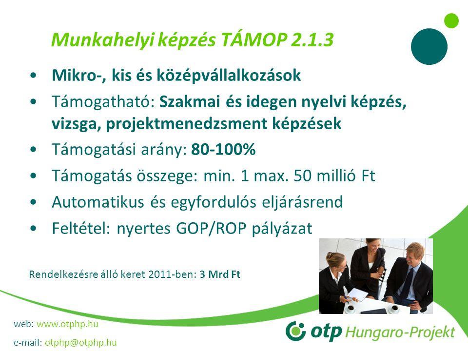 web: www.otphp.hu e-mail: otphp@otphp.hu Munkahelyi képzés TÁMOP 2.1.3 •Mikro-, kis és középvállalkozások •Támogatható: Szakmai és idegen nyelvi képzés, vizsga, projektmenedzsment képzések •Támogatási arány: 80-100% •Támogatás összege: min.