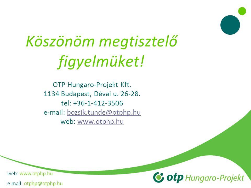 web: www.otphp.hu e-mail: otphp@otphp.hu Köszönöm megtisztelő figyelmüket! OTP Hungaro-Projekt Kft. 1134 Budapest, Dévai u. 26-28. tel: +36-1-412-3506