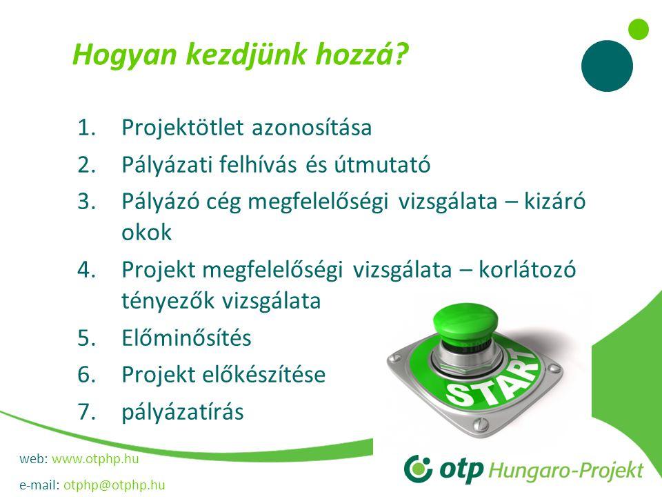 web: www.otphp.hu e-mail: otphp@otphp.hu Hogyan kezdjünk hozzá? 1.Projektötlet azonosítása 2.Pályázati felhívás és útmutató 3.Pályázó cég megfelelőség