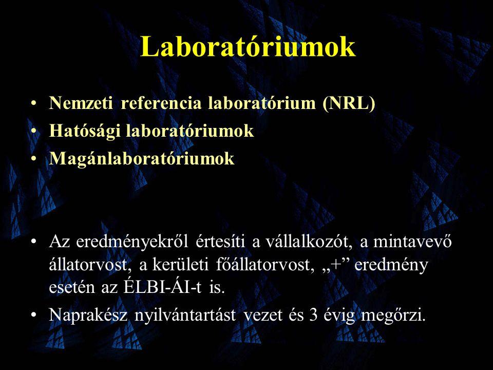 """Laboratóriumok •Nemzeti referencia laboratórium (NRL) •Hatósági laboratóriumok •Magánlaboratóriumok •Az eredményekről értesíti a vállalkozót, a mintavevő állatorvost, a kerületi főállatorvost, """"+ eredmény esetén az ÉLBI-ÁI-t is."""