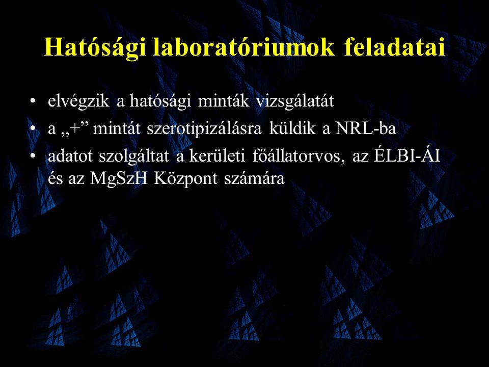 """Hatósági laboratóriumok feladatai •elvégzik a hatósági minták vizsgálatát •a """"+ mintát szerotipizálásra küldik a NRL-ba •adatot szolgáltat a kerületi főállatorvos, az ÉLBI-ÁI és az MgSzH Központ számára"""