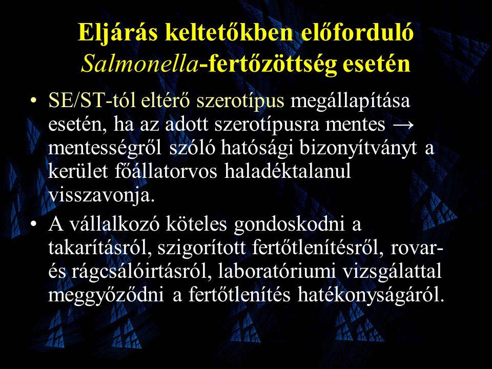 Eljárás keltetőkben előforduló Salmonella-fertőzöttség esetén •SE/ST-tól eltérő szerotípus megállapítása esetén, ha az adott szerotípusra mentes → mentességről szóló hatósági bizonyítványt a kerület főállatorvos haladéktalanul visszavonja.