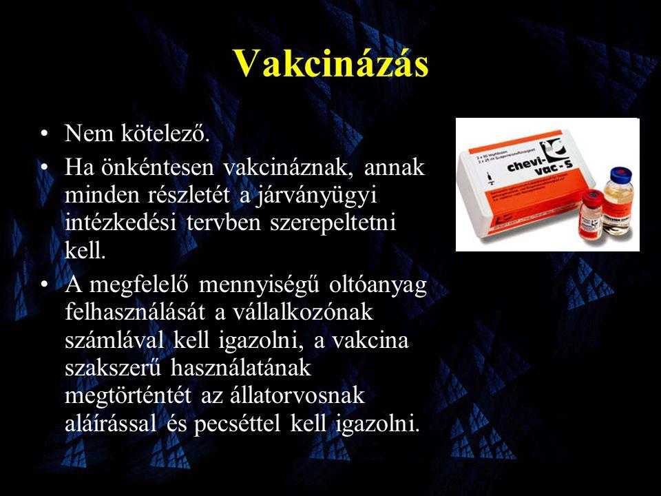 Vakcinázás •Nem kötelező.