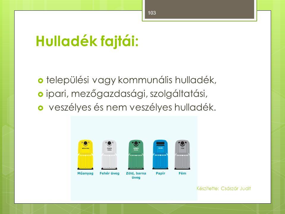 Hulladék fajtái:  települési vagy kommunális hulladék,  ipari, mezőgazdasági, szolgáltatási,  veszélyes és nem veszélyes hulladék. 103 Készítette:
