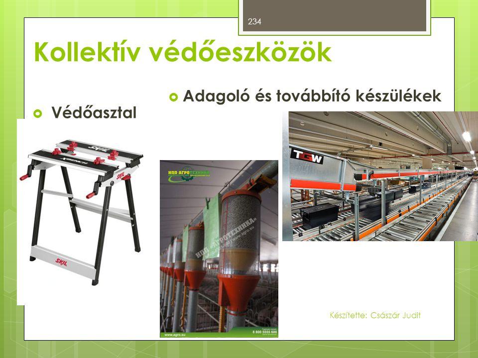 Kollektív védőeszközök  Védőasztal  Adagoló és továbbító készülékek 234 Készítette: Császár Judit