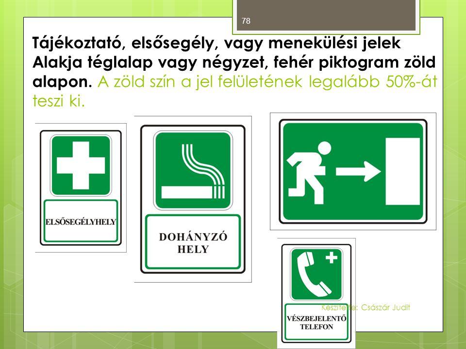 78 Tájékoztató, elsősegély, vagy menekülési jelek Alakja téglalap vagy négyzet, fehér piktogram zöld alapon. A zöld szín a jel felületének legalább 50