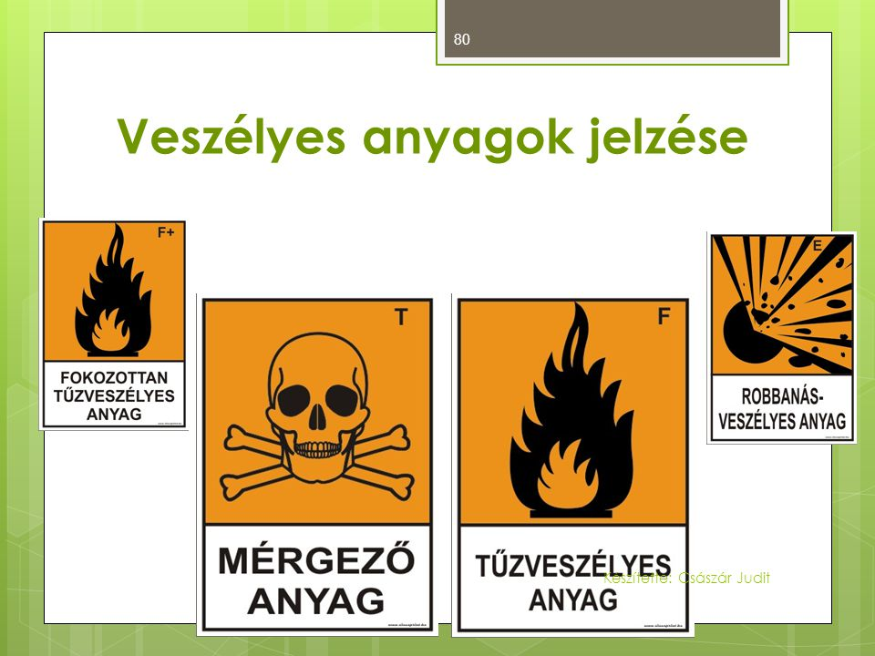 80 Veszélyes anyagok jelzése Készítette: Császár Judit