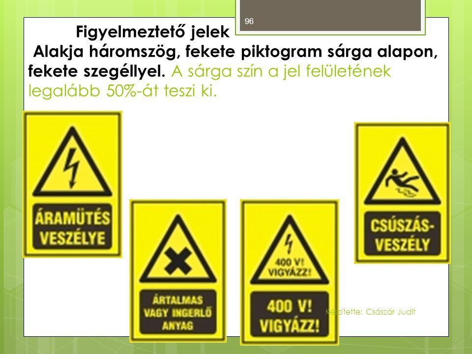 96 Figyelmeztető jelek Alakja háromszög, fekete piktogram sárga alapon, fekete szegéllyel. A sárga szín a jel felületének legalább 50%-át teszi ki. Ké