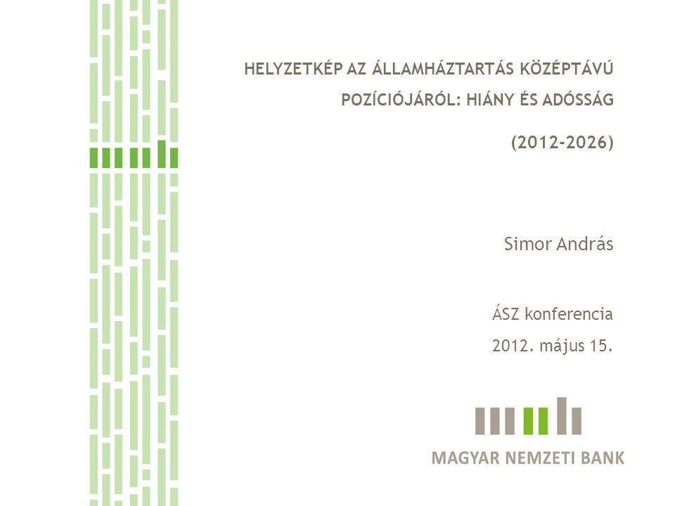 HELYZETKÉP AZ ÁLLAMHÁZTARTÁS KÖZÉPTÁVÚ POZÍCIÓJÁRÓL: HIÁNY ÉS ADÓSSÁG (2012-2026) Simor András ÁSZ konferencia 2012.