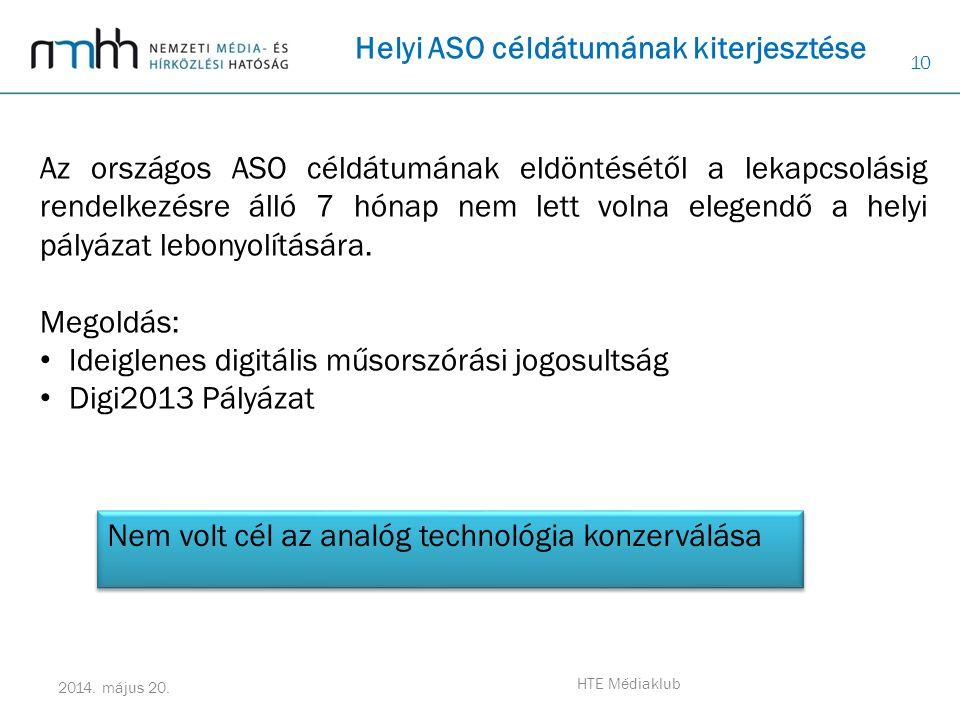10 2014. május 20. HTE Médiaklub Az országos ASO céldátumának eldöntésétől a lekapcsolásig rendelkezésre álló 7 hónap nem lett volna elegendő a helyi
