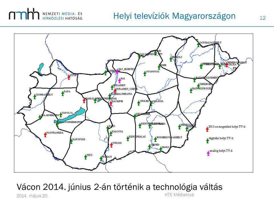 12 2014. május 20. HTE Médiaklub Helyi televíziók Magyarországon Vácon 2014. június 2-án történik a technológia váltás