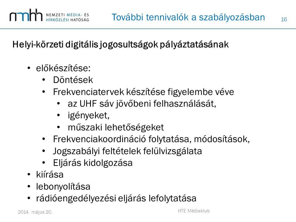 16 2014. május 20. HTE Médiaklub További tennivalók a szabályozásban Helyi-körzeti digitális jogosultságok pályáztatásának • előkészítése: • Döntések