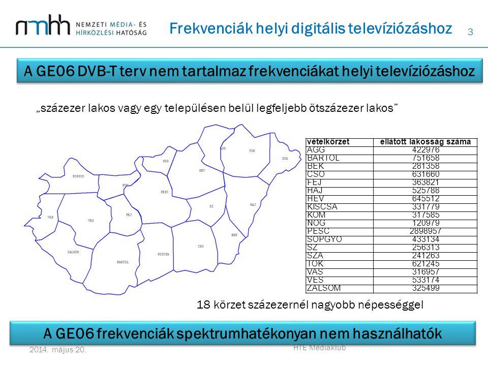 3 2014. május 20. HTE Médiaklub Frekvenciák helyi digitális televíziózáshoz A GE06 DVB-T terv nem tartalmaz frekvenciákat helyi televíziózáshoz vételk