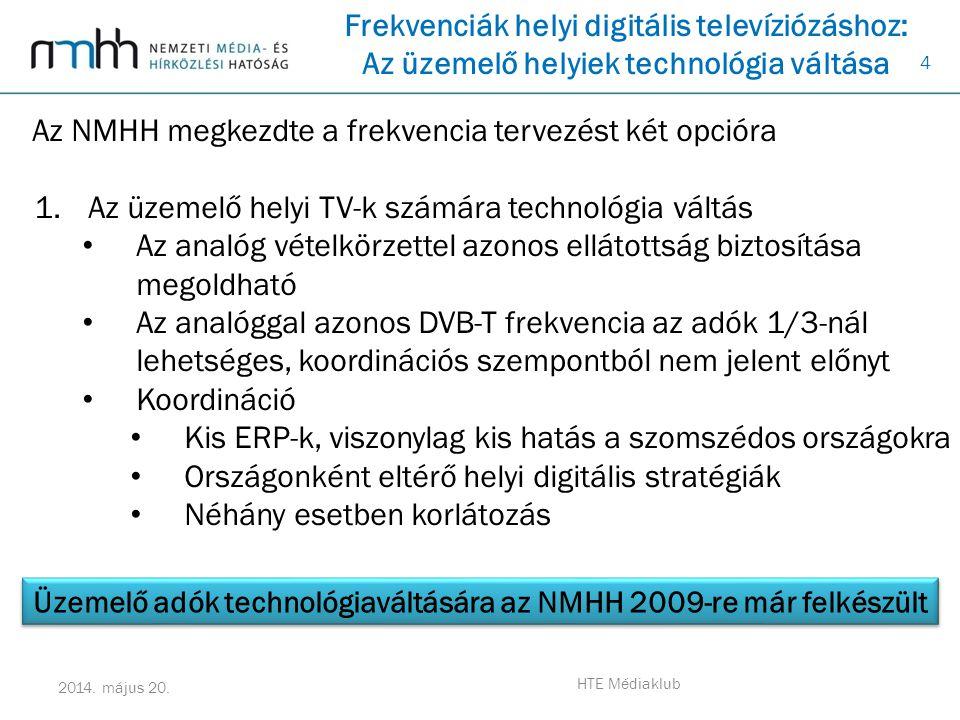4 2014. május 20. HTE Médiaklub Frekvenciák helyi digitális televíziózáshoz: Az üzemelő helyiek technológia váltása Az NMHH megkezdte a frekvencia ter