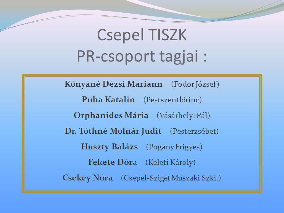 Csepel TISZK PR-csoport tagjai : Kónyáné Dézsi Mariann (Fodor József) Puha Katalin (Pestszentlőrinc) Orphanides Mária (Vásárhelyi Pál) Dr. Tóthné Moln