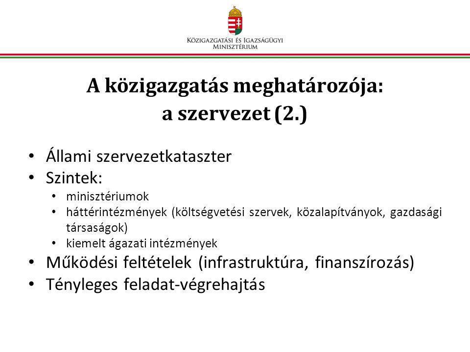 A közigazgatás meghatározója: a szervezet (2.) • Állami szervezetkataszter • Szintek: • minisztériumok • háttérintézmények (költségvetési szervek, köz