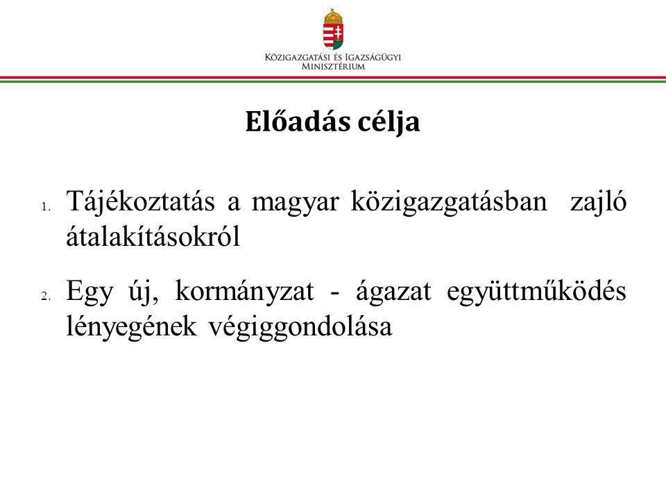 Előadás célja 1. Tájékoztatás a magyar közigazgatásban zajló átalakításokról 2. Egy új, kormányzat - ágazat együttműködés lényegének végiggondolása
