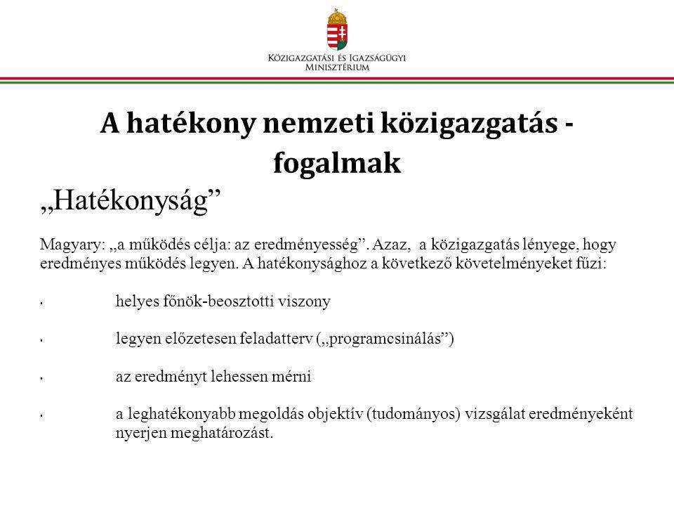 """A hatékony nemzeti közigazgatás - fogalmak """"Hatékonyság Magyary: """"a működés célja: az eredményesség ."""
