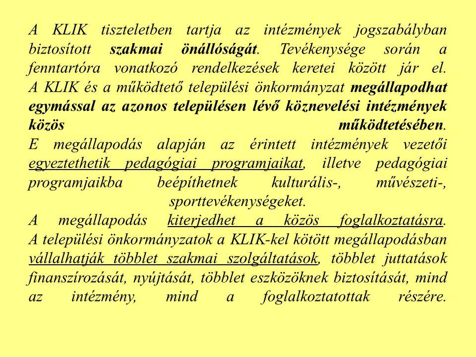A KLIK tiszteletben tartja az intézmények jogszabályban biztosított szakmai önállóságát.