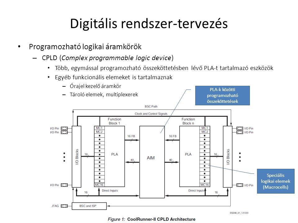 Digitális rendszer-tervezés • Programozható logikai áramkörök – CPLD (Complex programmable logic device) • Több, egymással programozható összeköttetés