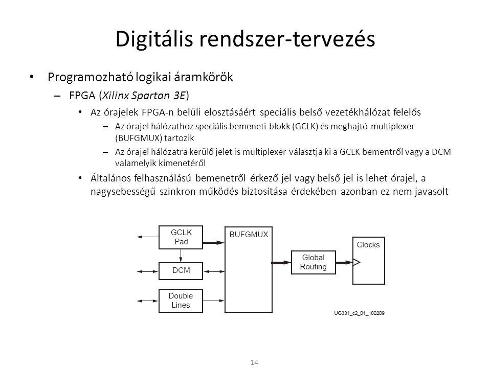 Digitális rendszer-tervezés • Programozható logikai áramkörök – FPGA (Xilinx Spartan 3E) • Az órajelek FPGA-n belüli elosztásáért speciális belső veze