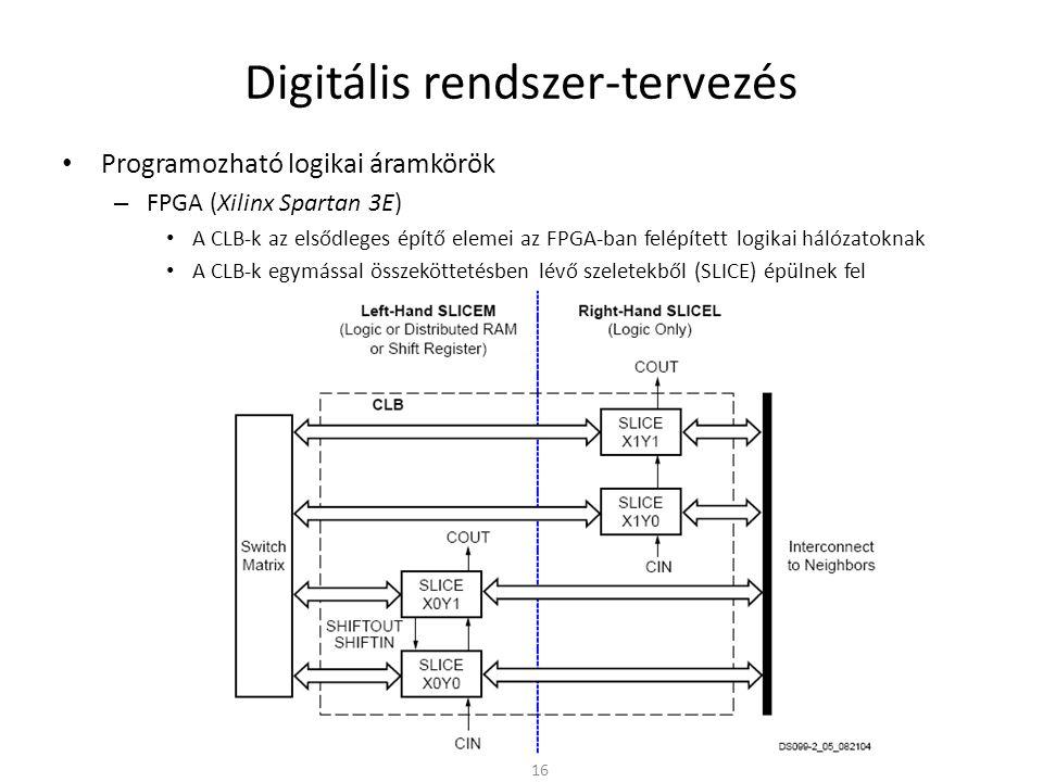 Digitális rendszer-tervezés • Programozható logikai áramkörök – FPGA (Xilinx Spartan 3E) • A CLB-k az elsődleges építő elemei az FPGA-ban felépített l