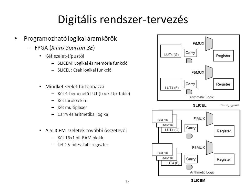 Digitális rendszer-tervezés • Programozható logikai áramkörök – FPGA (Xilinx Spartan 3E) • Két szelet-típustól – SLICEM: Logikai és memória funkció –