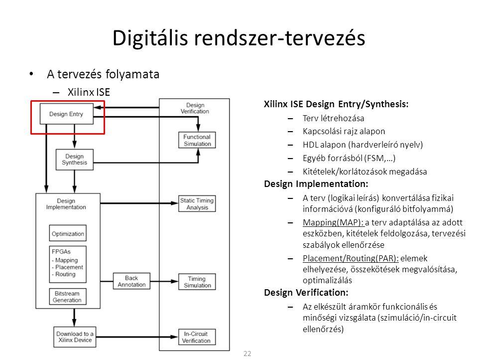 Digitális rendszer-tervezés • A tervezés folyamata – Xilinx ISE 22 Xilinx ISE Design Entry/Synthesis: – Terv létrehozása – Kapcsolási rajz alapon – HD
