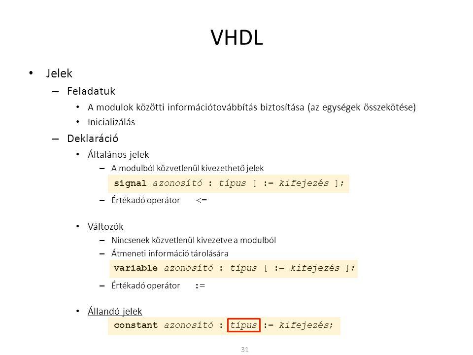 VHDL • Jelek – Feladatuk • A modulok közötti információtovábbítás biztosítása (az egységek összekötése) • Inicializálás – Deklaráció • Általános jelek