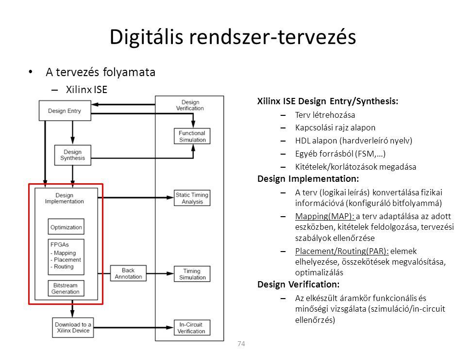 Digitális rendszer-tervezés • A tervezés folyamata – Xilinx ISE 74 Xilinx ISE Design Entry/Synthesis: – Terv létrehozása – Kapcsolási rajz alapon – HD
