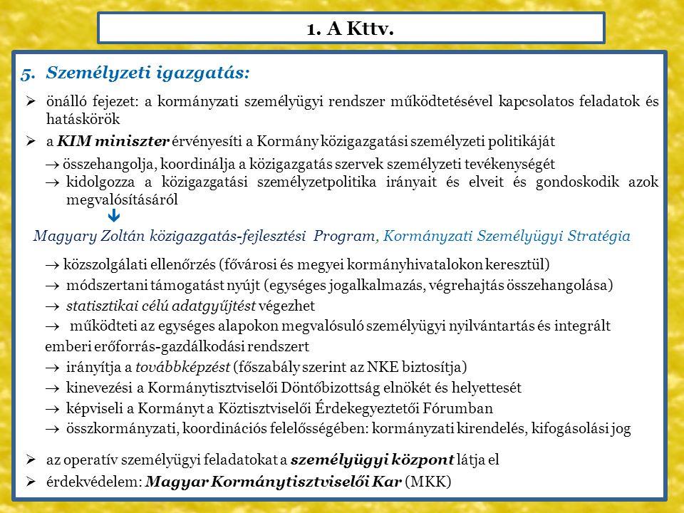 1. A Kttv. 5.Személyzeti igazgatás:  önálló fejezet: a kormányzati személyügyi rendszer működtetésével kapcsolatos feladatok és hatáskörök  a KIM mi