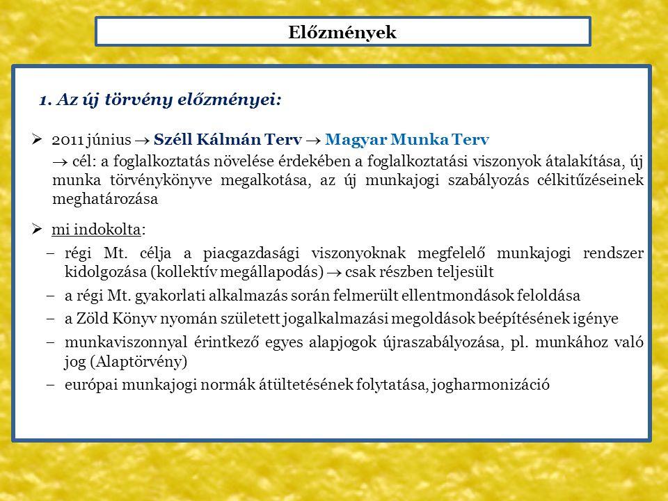 Előzmények 1. Az új törvény előzményei:  2011 június  Széll Kálmán Terv  Magyar Munka Terv  cél: a foglalkoztatás növelése érdekében a foglalkozta