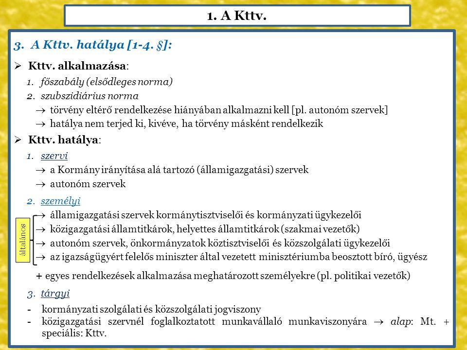 1. A Kttv. 3.A Kttv. hatálya [1-4. §]:  Kttv. alkalmazása: 1.főszabály (elsődleges norma) 2.szubszidiárius norma  törvény eltérő rendelkezése hiányá