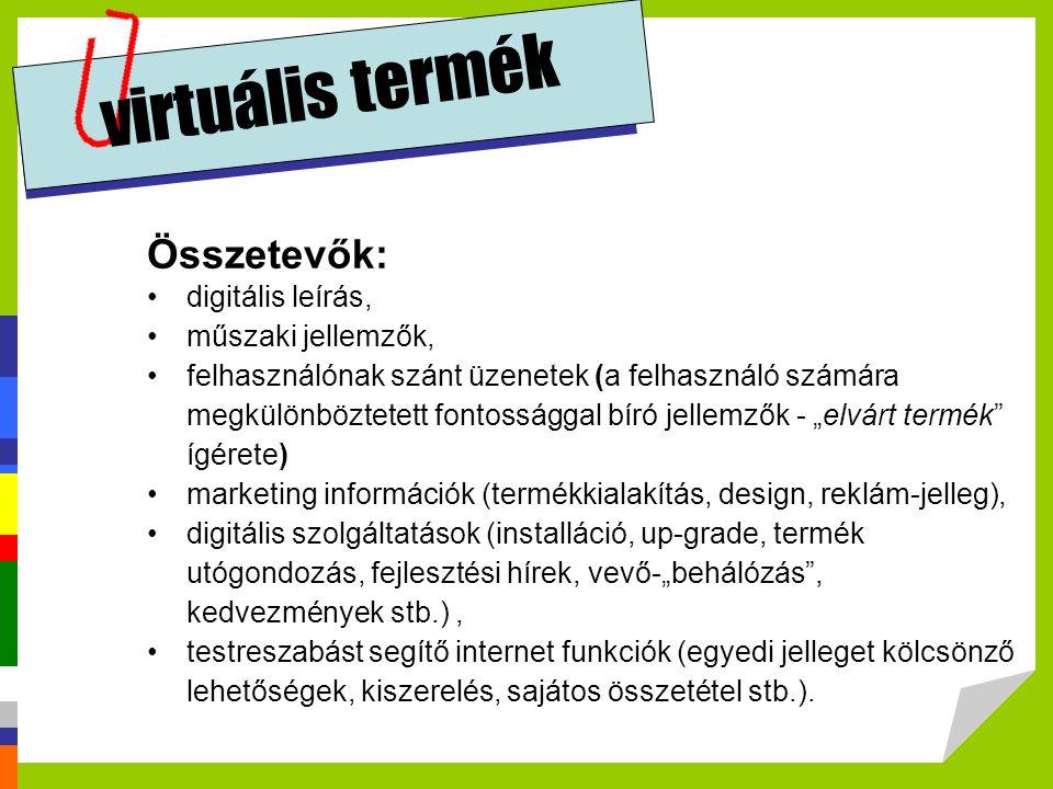 virtuális termék Összetevők: •digitális leírás, •műszaki jellemzők, •felhasználónak szánt üzenetek (a felhasználó számára megkülönböztetett fontosságg