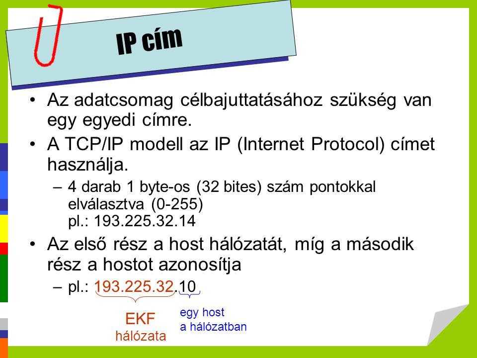 IP cím •Az adatcsomag célbajuttatásához szükség van egy egyedi címre. •A TCP/IP modell az IP (Internet Protocol) címet használja. –4 darab 1 byte-os (