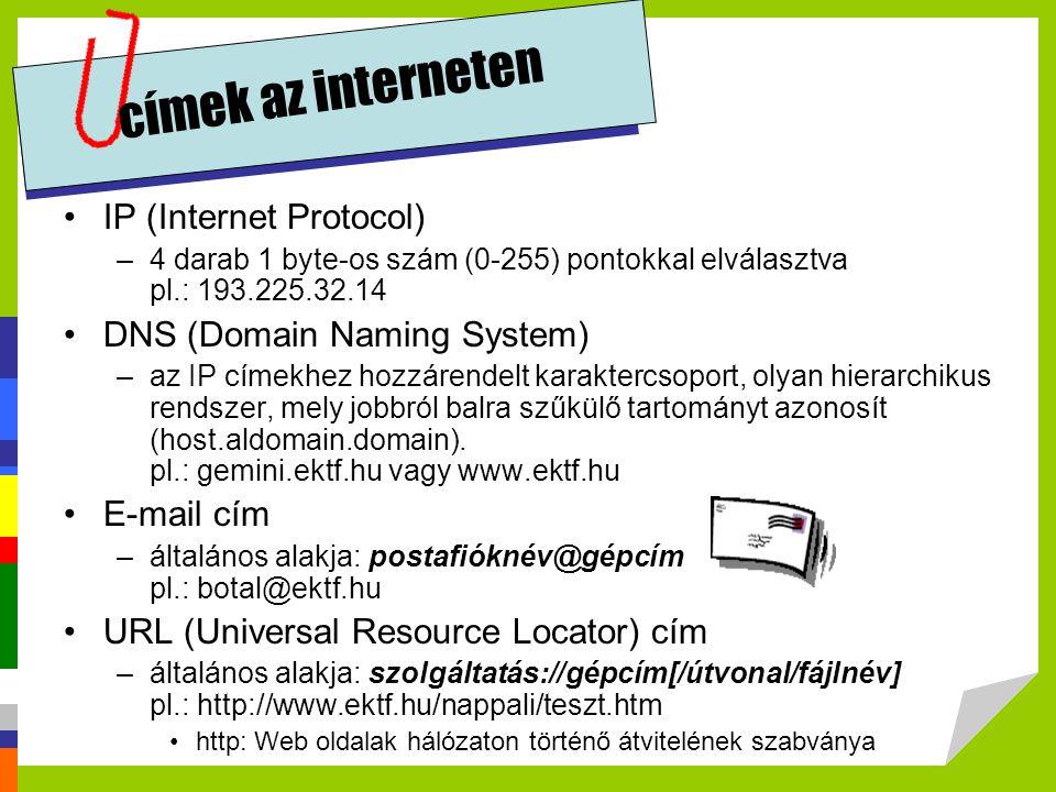címek az interneten •IP (Internet Protocol) –4 darab 1 byte-os szám (0-255) pontokkal elválasztva pl.: 193.225.32.14 •DNS (Domain Naming System) –az I