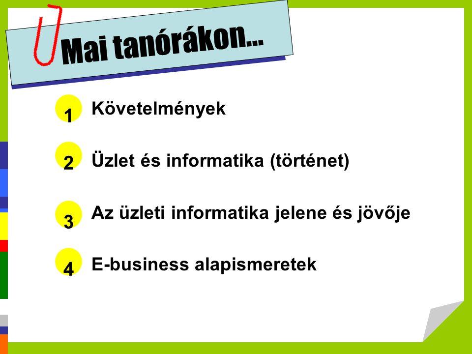 Követelmények Üzlet és informatika (történet) Az üzleti informatika jelene és jövője E-business alapismeretek 1 Mai tanórákon... 2 3 4