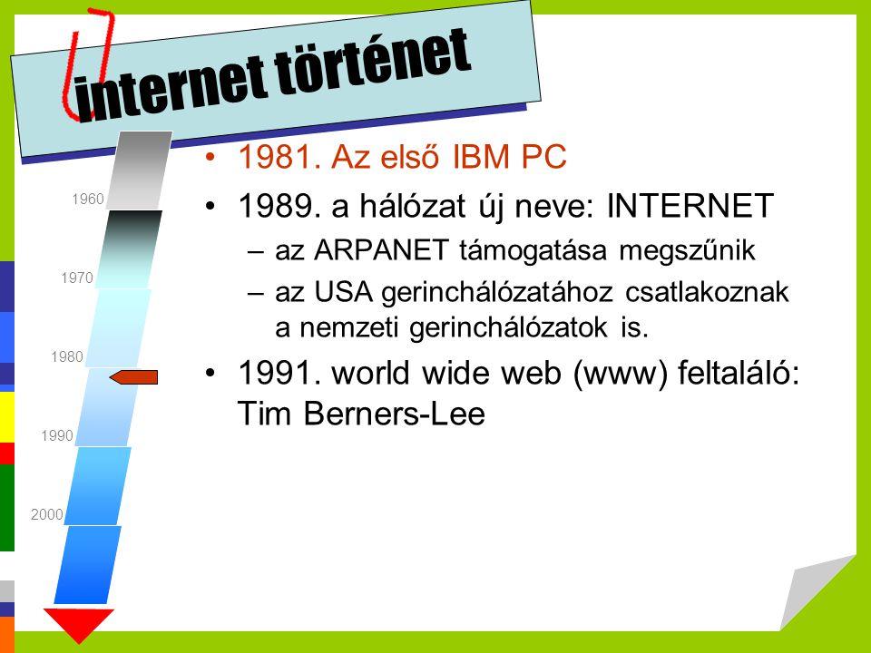 internet történet •1981. Az első IBM PC •1989. a hálózat új neve: INTERNET –az ARPANET támogatása megszűnik –az USA gerinchálózatához csatlakoznak a n