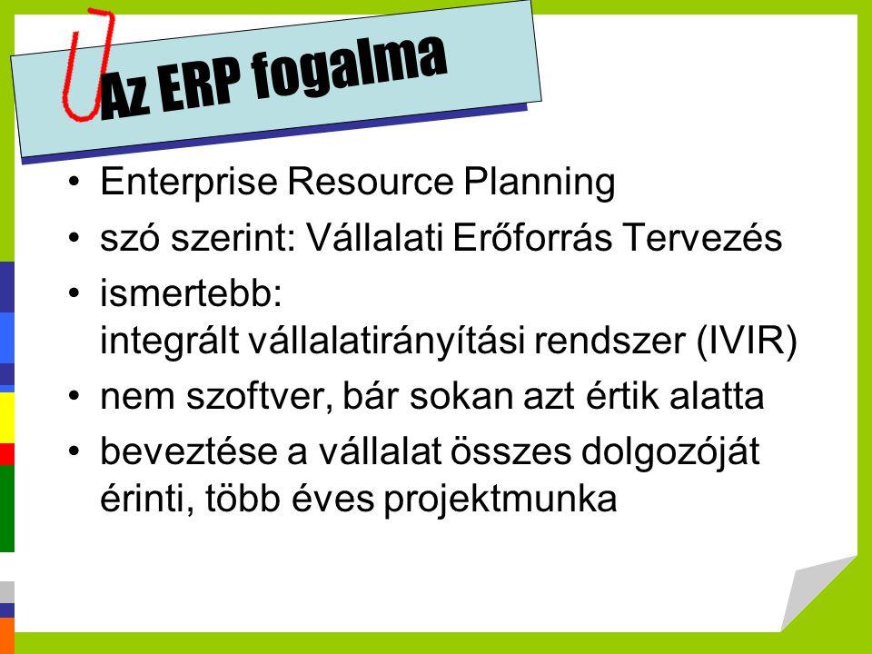Az ERP fogalma •Enterprise Resource Planning •szó szerint: Vállalati Erőforrás Tervezés •ismertebb: integrált vállalatirányítási rendszer (IVIR) •nem