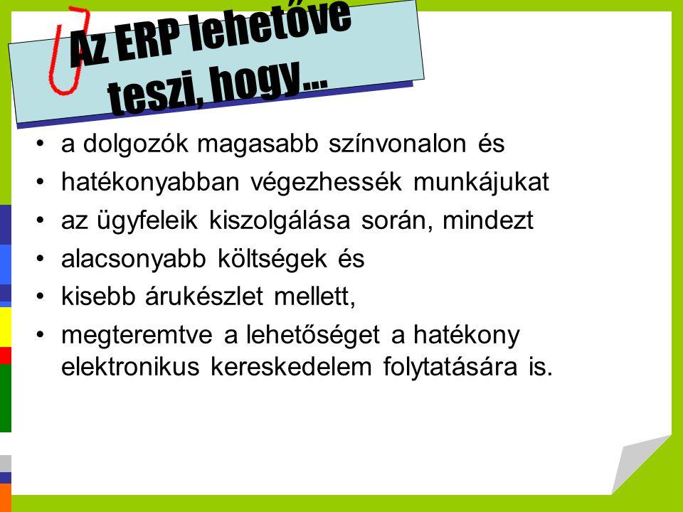 Az ERP lehetővé teszi, hogy... •a dolgozók magasabb színvonalon és •hatékonyabban végezhessék munkájukat •az ügyfeleik kiszolgálása során, mindezt •al