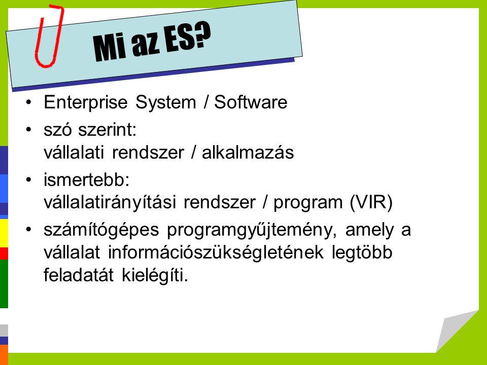 Mi az ES? •Enterprise System / Software •szó szerint: vállalati rendszer / alkalmazás •ismertebb: vállalatirányítási rendszer / program (VIR) •számító