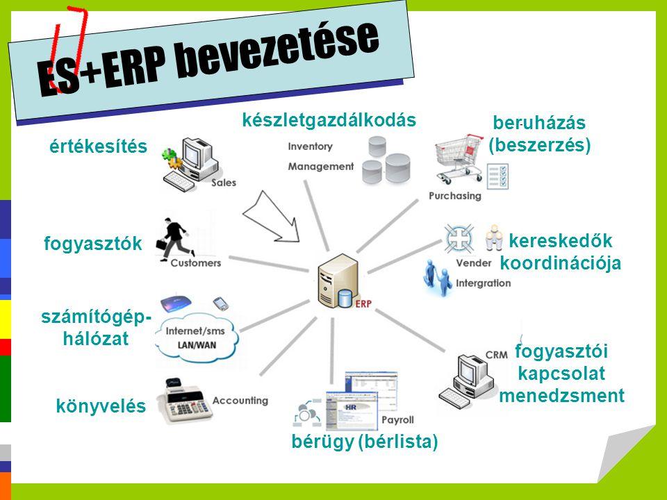 ES+ERP bevezetése értékesítés fogyasztók könyvelés bérügy (bérlista) fogyasztói kapcsolat menedzsment kereskedők koordinációja beruházás (beszerzés) k