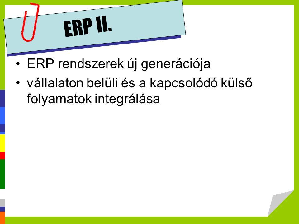 ERP II. •ERP rendszerek új generációja •vállalaton belüli és a kapcsolódó külső folyamatok integrálása