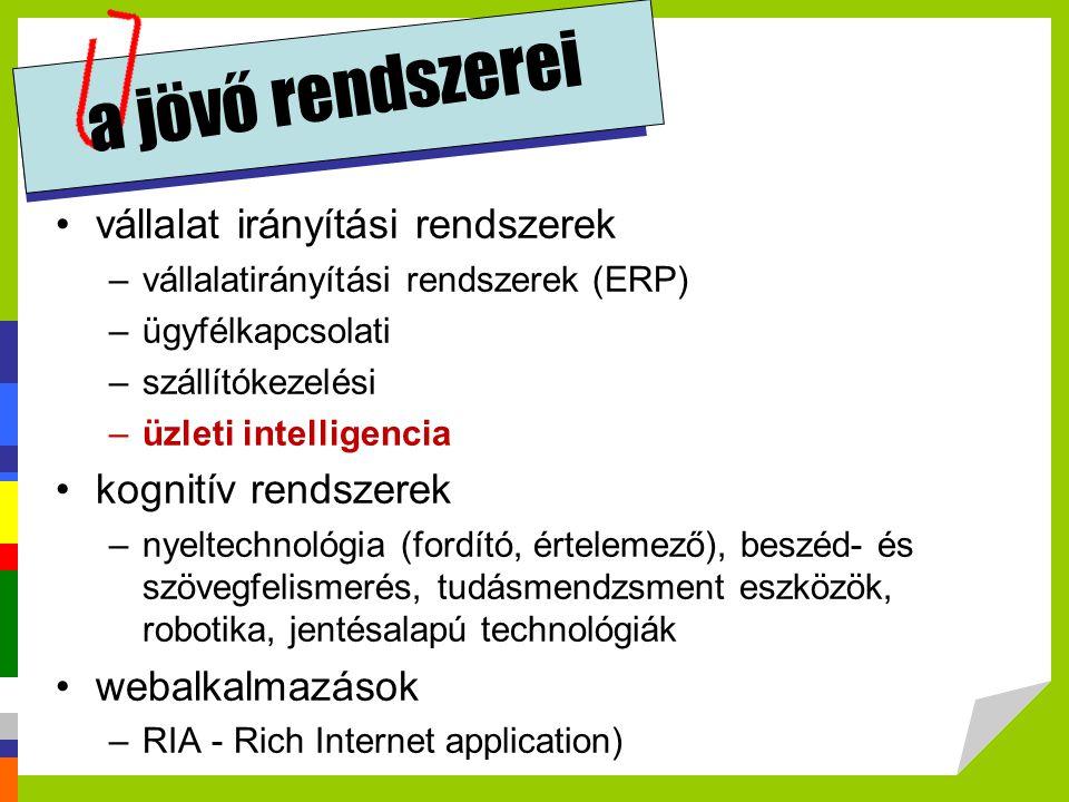 a jövő rendszerei •vállalat irányítási rendszerek –vállalatirányítási rendszerek (ERP) –ügyfélkapcsolati –szállítókezelési –üzleti intelligencia •kogn