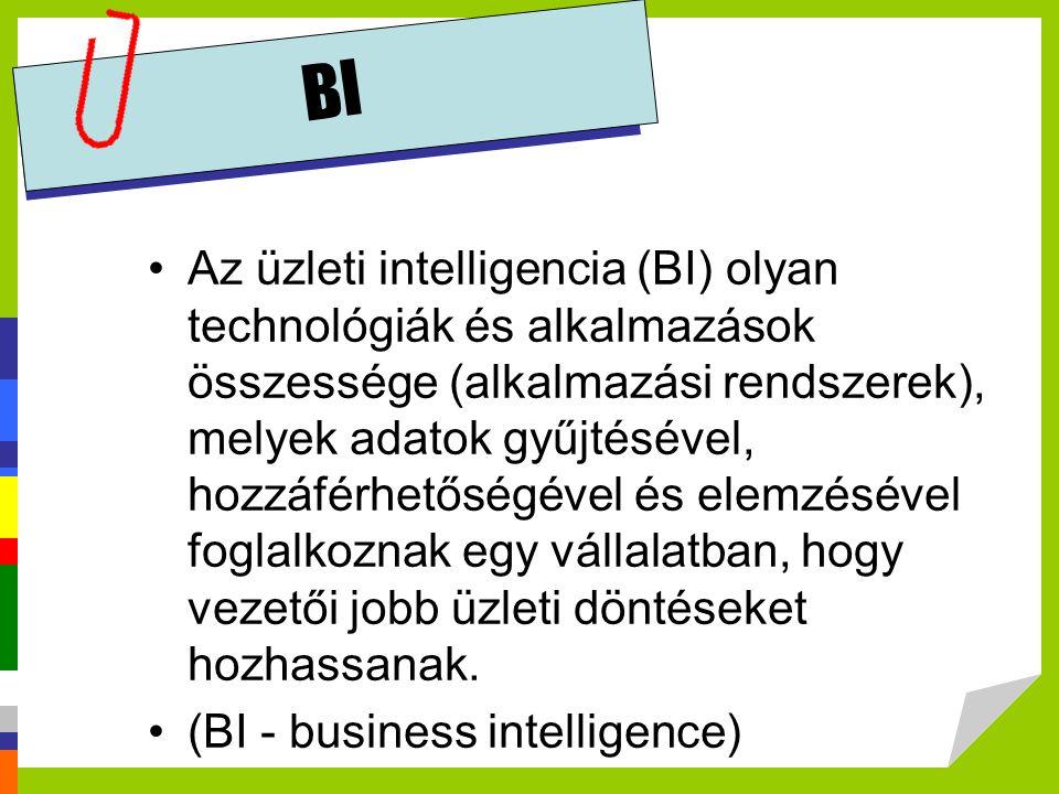BI •Az üzleti intelligencia (BI) olyan technológiák és alkalmazások összessége (alkalmazási rendszerek), melyek adatok gyűjtésével, hozzáférhetőségéve