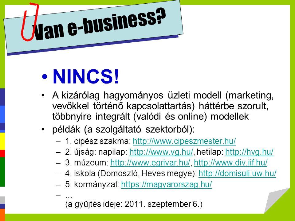 Van e-business? •NINCS! •A kizárólag hagyományos üzleti modell (marketing, vevőkkel történő kapcsolattartás) háttérbe szorult, többnyire integrált (va