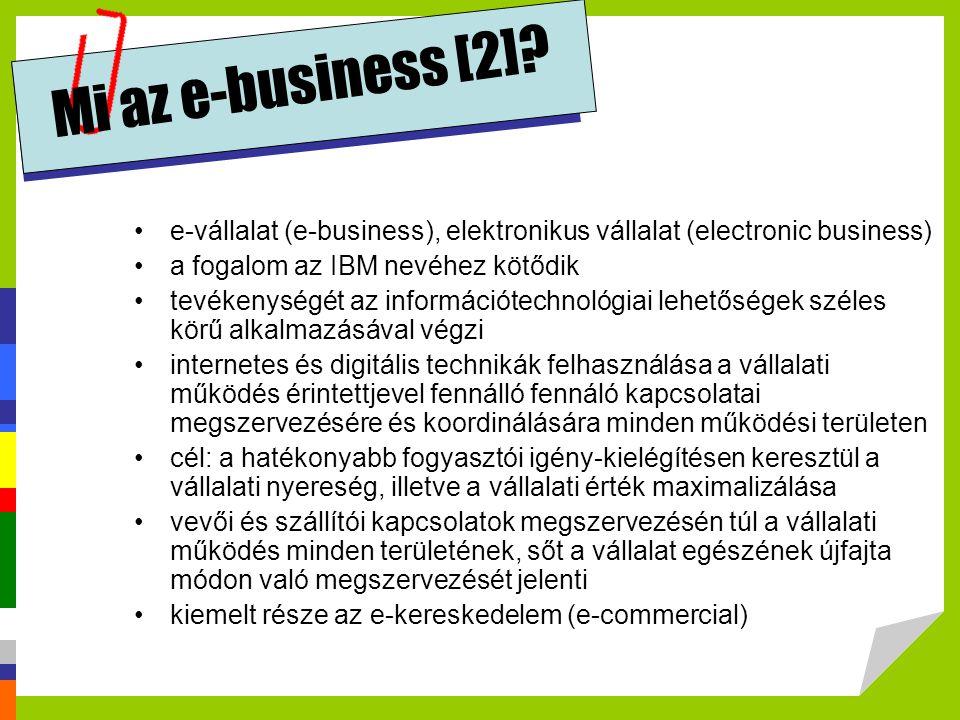 •e-vállalat (e-business), elektronikus vállalat (electronic business) •a fogalom az IBM nevéhez kötődik •tevékenységét az információtechnológiai lehet