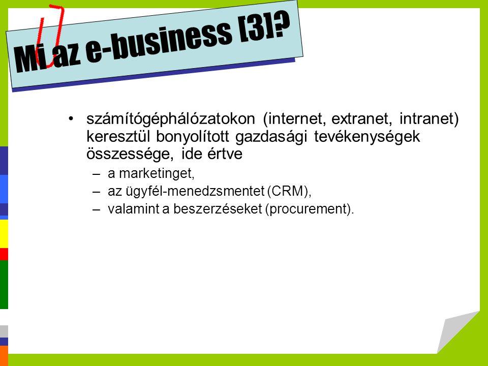 Mi az e-business [3]? •számítógéphálózatokon (internet, extranet, intranet) keresztül bonyolított gazdasági tevékenységek összessége, ide értve –a mar