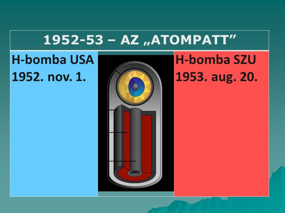 """1952-53 – AZ """"ATOMPATT H-bomba USA 1952. nov. 1. H-bomba SZU 1953. aug. 20."""